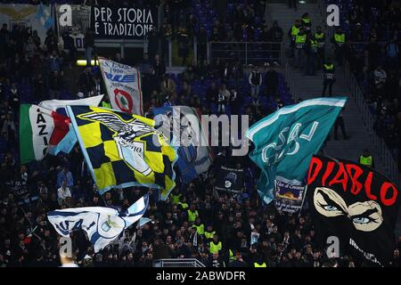Lazio supporters show their team flags during the UEFA Europa League, Group E football match between SS Lazio and CFR Cluj on November 28, 2019 at Stadio Olimpico in Rome, Italy - Photo Federico Proietti/ESPA-Images - Stock Photo