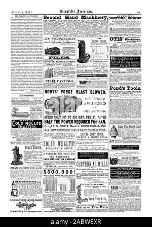 THE STEAM ENGINES FOR SALE. EAGLE FOOT LATHES R. L. STATE & CO. Springfield Ohio. THE VALIDITY OF PATENTS. Inside Page each insertion  - 75 cents a line. Back Page each insertion  - $1.00 a line. CALLAHUE'S 'Little Giant' STEAM ENGINE. Second Hand Machinery GEORGE PLACE 121 Chambers & 103 Reade Sts. New York AIR COMPRESSORS FOR ALL PURPOSES. A SPECIALTY of HEAVY PRESSURES. Corrugated Iron. MADDEN & COCKAYNE FILE CO. Turning BoringDrillingGrind ing Polishing ! All on one Cabi net Lathe on Wheels. STEEL CASTINGS. ROOTS' FORCE BLAST BLOWER. AWARDED SPEED ONLY 100 TO 250 REV. PER M. SAVES HALF THE - Stock Photo