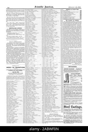 INDEX OF INVENTIONS Letters Patent of the United States were Granted in the Week Ending July 25 1876 AND EACH BEARING THAT DATE. Inside Page each insertion  - 75 cents a line. Back Page each insertion  - $1.00 a line. . GALLAHUE'S FOR RUNNING MACHINERY Steel Castings, scientific american, 1876-08-26 - Stock Photo