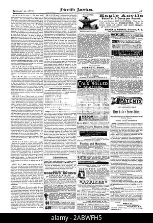 LININOTON Chicago. The Oldest Agency for Soliciting Patents in the United States. Copies of Patents. MUNN & CO. 37 Park Raw N. Y. EAGLE FOOT LATHES NCAOHINEILT OF EVERY DESCRIPTION; GEORGE PLACE. JOHN DUCKLING & CO., scientific american, 1877-01-20 - Stock Photo