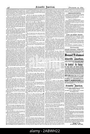 DECEMBER 22 1877.  CONISITNICATIONS RECEIVED. WANTS AND BUSINESS INQUIRIES. Inside Page each insertion .75 cents a line. Bound Volume Scientific American. P. O. Box 773 New York. 50 PER CENT. OF WOOD SAVED. SIXTY THE THIRTY-SECOND YEAR. Only $3.20 a Year including Postage. Weekly. 52 Numbers a Year. MUNN & CO. 37 Park Row 'Atm York., 1877-12-22 - Stock Photo