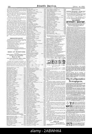 MARKS ETC. English Patents Issued io Americans. COMMUNICATIONS RECEIVED. INDEX OF INVENTIONS Granted in the Week Ending AND EACH BEARING THAT DATE. Newspapers. WANTED I FLETCRIIER'S GAS FURNACE ALLEN'S ARTIFICER'S ASSISTANT. THE FLOW OF METALS. BY DAVID MUNN 8c CO., scientific american, 1878-04-20 - Stock Photo