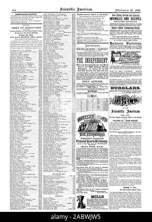 COMMUNICATIONS RECEIVED. INDEX OF INVENTIONS D'OR WHICH Granted in the Week Ending October 29 1878 TRADE MARKS. DESIGNS. Back Page each insertion-. $1.00 a line. TIIE INDEPENDENT. Well and Favorably Known the World Over as the BEST Religious Weekly Newspaper. It retains all its most desirable features and adds new ones. COOK'S LECTURES. D.D. LL PREMIUMS. WORCESTER'S UNABRIDGED Subscription Price $3 per annum in Advance. New York City. MILLS WRINKLES AND RECIPES. Edited by PARK BENJN Ph.D. Rose's Color Tempering Scale AMERICAN. Price $2 postpaid to any address. JOHN WI LEY SONS Publishers 15 - Stock Photo