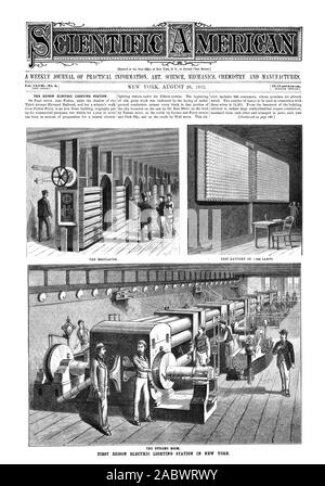 Entered at the Post Office of New York N. Y. as Second Class Matter. Vol. XLV1INo. 9.1 [NEW SERIES. 1$3.20 perAnntim. THE EDISON ELECTRIC LIGHTING STATION. THE DYNAMO ROOM. FIRST EDISON ELECTRIC LIGHTING STATION IN NEW YORK. TEST BATTERY OF 1 000 LAMPS. THE REGULATOR., scientific american, 1882-08-26 - Stock Photo