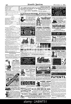 ELECTRIC LIGHT 'TELEGRAPH SUPPLIES WOOD WORKING MACHINERY. BAND & SCROLL SAWS CD. ' CINCINNATIO.U.S.A. DOBBIES PATENT DERRICK POWERS AND BOOM HOISTER  PROOF s Screw Cutting Foot Lathe Chicag June 8 1882. We are MORE THAN SATI 3FIED with our Pictet Refrigerating Machines and consider them THE BEST IN THE MARKET. We have two of the largest size in full operation. .AR.1VJE C=0T.TER. Your attention is called to above certificate. THE RIDER COMPRESSION PUMPING ENGINE RUBBER BACK SQUARE PACKING. WIRE ROPE BRIDGE CABLES SHIP RIGGING Tramway Ropes Champion Barbed Wire etc 'BLAKE'S CHALLENGE' ROCK - Stock Photo