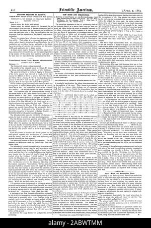 DECISIONS RELATING TO PATENTS. United States Circuit CourtDistrict of Connecticut. NEW BOOKS AND PUBLICATIONS., scientific american, 1883-04-07 - Stock Photo