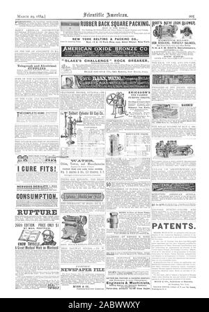 """RUBBER BACK SQUARE PACKING. NEW YORK BELTINC & PACKINC C """"AMERICAN OXIDE BRONZE C I CURE FIT CONSUMPTION RUPTURE BY MAIL POSTPAID. KNOW THYSELF' A Great Medical Work on Manhood L Seibert Cylinder Oil Cup Co. Engine Cylinders. under 'CiNTALTM1=1 NEWSPAPER FILE NUNN & CO. ERICSSON'S NEW CALORIC PUMPING ENGINE FOR Chicag ). Telegraph and Electrical SUPPLIES HE COMPLETE HOME SOUTHWARK FOUNDRY & MACHINE COMPANY Engineers & Machinists Porter-Allen Automatic Cnt-Of Steam Engine. IRON REVOLVERS PERFECTLY BALANCEb P. H. & F. NI. ROOTS Manufacturers COOKE at CO. Selling Agts. 22 Cortland Street BARNES - Stock Photo"""