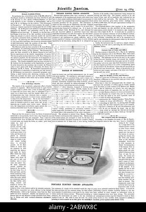 French Academy Prizes. New Febrifuge Kairin. Tamarinds. PORTABLE ELECTRIC TESTING APPARATUS. DIAGRAM OF CONNECTIONS. Curious Case of Cause and Effect. The Aasgeier and the Telephone. PORTABLE ELECTRIC TESTING APPARATUS., scientific american, 1884-06-14 - Stock Photo