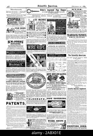 IN THE MARKET. Blake's Improved Pipe Hanger. verlisernenfo. Inside Page each insertion  75 cents a line. (About eight words to a line.) hngravings may head advertisements at the same rate per line by measurement as the letter press. Adver tisonents must be received at publication eke as early as Thursday mousing to appear in next issue. 12 Warren Street New York. STEAM ENGINES. Horizontal and Vertical. Flour. Powder Slate and WHAT THE BAKER CAN GET OUT of a Barrel of Flour.-An interesting discussion of the question as to how much a reduction of 25 per cent. in SCIENTIFIC AMERICAN SUPPLEMENT No - Stock Photo
