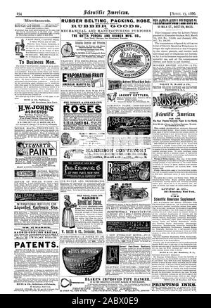 Improvements for 1886. Branch Rouses: 12 Warren St. New York ; 5 Wabash Ave. Chicago. AMERICAN MAN'F'G CO. THE DINGEE & CONARD CO'S BEAUTIFUL EVER-BLOOMING ROS ES to El5 RUBBER BELTINC PACKINC HOSE TJ M Gr C=k  MECHANICAL AND MANUFACTURING PURPOSES. The Largest and Most Extensive Manufacturers in America. New York Chicag San Francisc Toront Grain Coal Sand ClayTan Bark Cinders Ores Seeds So. ADVERTISING PURPOSES  GOLD MEDAL PARIS 1878 BAKER'S Broatfast Cocoa. Sold by Grocers everywhere. ;.   ARCHITECTURAL PERSPECTIVE Barnes' Foot-Power Machinery. 6.21 Egg EPP LATING and EXHAUST GEO. P. CLARK - Stock Photo