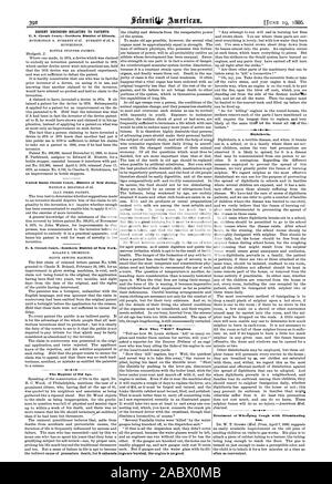 RECENT DECISIONS RELATING TO PATENTS. HUTCHINSON. BOTTLE STOPPER PATENT. United States Circuit CourtDistrict of New Jersey. CLAY PRESS PATENT. U. S. Circuit CourtSouthern District of New York. GLOVE SEWING MACHINE. The Hygiene of Old Age. How They ' Kill 99 Engines. ings are bursted the engine is no good. Diphtheria. Treatment of Whaping Cough with Illuminating Gas. often as convenient., scientific american, 1886-06-19 - Stock Photo