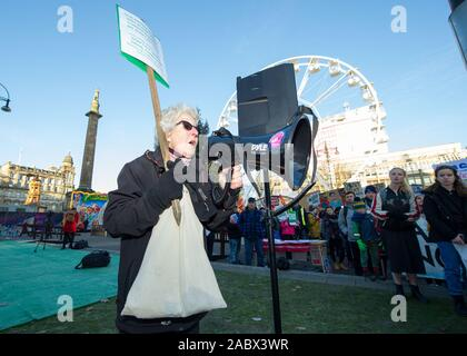 Glasgow, UK. 29th Nov, 2019. Pictured: Climate Change Protestors. Scottish Green Party take part in an organised Climate change protest in George Square, Glasgow. Credit: Colin Fisher/Alamy Live News - Stock Photo
