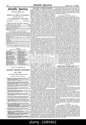 Week Ending January 12 1889. PAGE The Eclipse of the Sun January 1. Completion of the Great Steel Bridge over the Hudson River at Poughkeepsie N. Y. New American and British War Vessels., scientific american, 1889-01-12 - Stock Photo