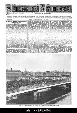 Entered at the Post Office of New York N. Y. as Second Class Matter. Copyrighted 1889 by Mann & Co. AT BRIDGEPORT CONN. TEST OF A NEW BRIDGE BY MEANS OF ELEPHANTS AT BRIDGEPORT CONN.  Inc, scientific american, 1889-01-19 - Stock Photo