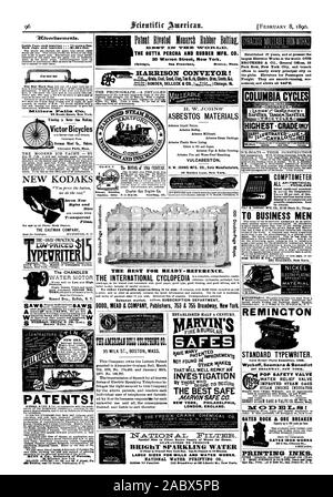 Paint Riyolod Monarch Robber Bollix. THE GUTTA PERCHA AND RUBBER MFG. CO. 35 Warren Street New York. RN- HARRISON CONVEYOR! The CHANDLER PATENTS! Eeemo=y H. W. JOHNS' ASBESTOS MATERIALS VULCABESTON. H. W. JOHNS MFG. CO. Sole Manufacturers 87 Malden Lane New York. Established 37 years and at present the largest Elevator Works in the world. OTIS BROTHERS & CO. General Offices 38 Park Row New York City and branch offices in nearly every principal city on the globe. Elevators for Passengers and Freight. They are smooth-running eco COMPTOMETER  PROBLEMS by using the Comptometer. Saves 40 per cent - Stock Photo
