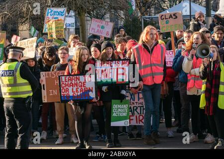 Glasgow, UK. 29th Nov, 2019. Students and school pupils taking part in the Youth Climate Strike protest today in George Square Glasgow. Credit: Richard Gass/Alamy Live News - Stock Photo