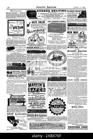 ELEVATORS 35 Park Row. New York 9.0vertissements. Inside Page each insertion - 73 cents a line Back Page each insertion  81.00 a line. RUBBER BELTING MALTESE CROSS RED STRIP and MOHAWK brands of RUBBER BELTING. THE GUTTA PERCHA AND RUBBER MFG. CO. Chicago. San Francisco. Portland Oregon. Boston ELEVATOR BELT 60 INCHES WIDE Underground Steam Pipes Yours truly S. A. DALE. MACHINE TOOLS TS AM:RICAN NIL 217: C 95 MILK ST. BOSTON MASS. NEW KODAKS THE EASTMAN COMPANY icToR A. G. SPALDING & BROS. GATE VALVE 15-17 E. 8th St. Cincinnati 0. THE PREMIER CAMERA A. WYCKOFF & SON Seven New Styles and Sizes - Stock Photo