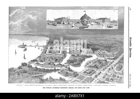 scientific american, 1891-08-22, the world's Columbian exposition, Chicago, 1893, Bird's eye view - Stock Photo