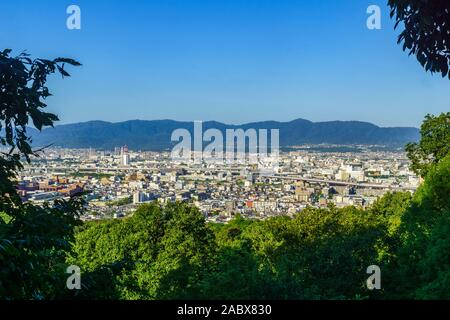 View of landscape and the city of Kyoto from mount Inari, Kapan - Stock Photo