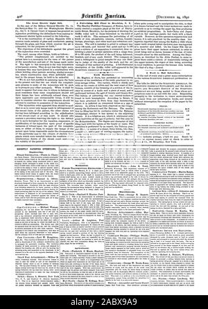 The Great Electric Light Suit. A Pulverizing Mill Plant in Brooklyn N. 'P. Teeth Mutilation. A Word to Mail Subscribers. RECENTLY PATENTED INVENTIONS. Engineering. its points similarly beveled on opposite front and Mechanical. POWER TRANSMITTING MECHANISM Agricultural. pole from which is projected a series of ropes terminat. Miscellaneous., scientific american, 1892-12-24 - Stock Photo