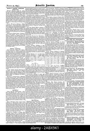 RECENTLY PATENTED INVENTIONS. Engineering. Railway Appliances. Mechanical. Agricultural. Miscellaneous. pulleys and analogous devices. and mechanism for shifting the relative positions of the NEW BOOKS AND PUBLICATIONS. LIGHT ON THE DYNAMIC ACTION AND American readers. like aim of the author it seems Is, scientific american, 1893-03-25 - Stock Photo