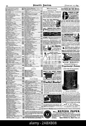 ORDINARY RATES. Inside Page. each insertion 75 cents a line AiaNEPERA PAPER. Nepera Chemical Co. Nepera Park N. Y. Far Sale by All Dealers., scientific american, 1894-02-10 - Stock Photo