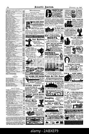 DESIONS. TRADE MARKS. Tort Other foreign patents may also be obtained. TOADvertioements. ORDINARY RATES. Inside Page. each insertion - 75 cent. a line Barg Page. erten insertion  - 51.00 is line FootandRand Power filacOhierg SENECA FALLS 17G. COMPANY AMERICAN PATENTS. - AN INTER ND SUPPLIES. CATALOGUE FREE SEBASTIAN LATHE CO. 120 CULVERT ST CINCINNATI. O. Rivet Machinery RAPID ACTION MODERN DESIGN HIGH-GRADE WORK BUILT BY THE E. J. MANVILLE MACH. CO. The Curtis Patent Return Steam Trap D'ESTE & SEELEY CO. THE - BILLINGS- PIPE -WRENCH Few Parts. Best Workmanship. Angle of Jaws the THE BILLINGS - Stock Photo