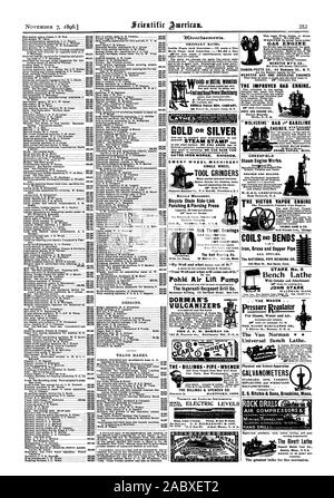 """ORDINARY RATES. Inside Page each insertion  75 cents a line Back Page each insertion 81.00 a line GATES IRON WORKS CHICACO. EMERY WHEEL MACHINERY SINGLE WHEEL Foot andlland Power Plachloerg SENECA PALLS MFG. COMPANY. OOD or PlETRL WORKERS TOOL GRINDERS For All Shaft Sizes. Hub Thrust Bearings THEY KILL FRICTION THEY SAVE OIL THEY CANNOT HEAT The Ball Bearing Co. 12 Watson St. Boston Mass. """"Your Well and what will come out of it.' Pohle Air Lift Pump The Ingersoll-Sergeant Drill Co. Havemeyer Building 2 6 Cortlandt Street New York. DORMAN'S VULCANIZERS are used all over the world. 4) 16 0 THE - Stock Photo"""