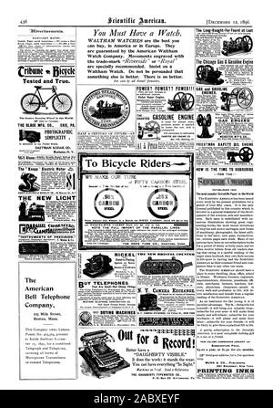 Cribune Bicycle Tested and True. THE BLACK MFG. CO. ERIE PA. PHOTOGRAPHIC SIMPLICITY . Is embodied in the Pocket Kodak. Get 'd Brooke Moulds Expert Making New HALF A CENTURY OF CYCLESAN POWER? POWER?? POWER!!! THOMAS KANE & CO. THE . . . CHARTER GASOLINE ENGINE is used for almost every purpose power is applied to under the sun and is unequaled. CHARTER GAS ENGINE CO. Box 148. Sterling. Ill. GAS ENGINE WEBSTER M'F'G CO. PRIESTMAN SAFETY _OIL ENGINE 530 Bourse Bldg. PH I LA DELPHIA. The Long-Sought-For Found at Last The Hicks Compound Cylinder Gas and Gaeoline Engine. The Chicago Gas & Gasoline - Stock Photo
