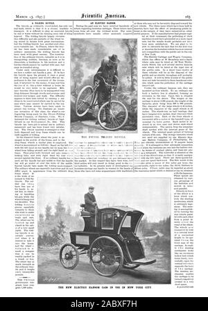 MARCH 13 1897.1 AN ELECTRIC HANSOM. A FOLDING BICYCLE. THE DWYER FOLDING BICYCLE. THE NEW ELECTRIC HANSOM CABS IN USE IN NEW YORK CITY, scientific american, 97-03-13 - Stock Photo