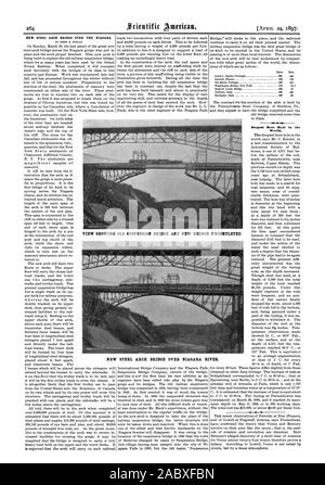 NEW STEEL ARCH BRIDGE OVER THE NIAGARA. BY ORRIN E. DUNLAP. Deepest Bore Hole In the World.VIEW SHOWING OLD SUSPENSION BRIDGE AND NEW BRIDGE UNCOMPLETED. NEW STEEL ARCH BRIDGE OVER NIAGARA RIVER., scientific american, 1897-04-24 - Stock Photo