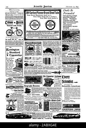 describing apparatus & free. MeALLISTES. If Opilcias 49 Num St. N.Y. H OUR 1898 CHAMPION BICYCLE HUBS. . . . Bearings are correct shape to give true rotation to balls without slip. Cones are turers of Cycle Wheels Sulky Wheels. Carriage Wheels Crank Hangers Bicycle Hubs Spokes Nipples Rims Balls etc. forged razor steel tile tested. warranted. Knife at left No. 76 Stronger two blade shop knife 75 cents. Cut at Might ' Our, scientific american, 1897-10-23 - Stock Photo