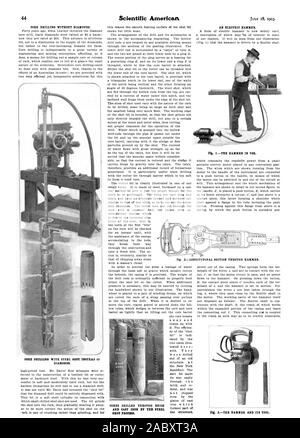 CORE DRILLING WITHOUT DIAMONDS. CORE DRILLING WITH STEEL SHOT INSTEAD OF DIAMONDS. the structure. CORES DRILLED THROUGH BRICK SHOT PROCESS. AN ELECTRIC HAMMER. SECTION THROUGH HAMMER., scientific american, 1903-07-18 - Stock Photo