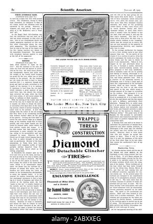 BANANAS. 1905 Detachable Clincher P-TIRES EXCLUSIVE EXCELLENCE Thousands of Miles With out a Scratch The Diamond Rubber Co. Branches in Principal Cities  Send 2cent stamp for copy of the -. THE LOZIER MOTOR CAR-30-35 HORSE-POWER. MOTOR BOAT The Lozier Motor Co. New York City Engineering Notes., scientific american, 1905-01-28 - Stock Photo