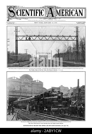 Vol. XCV1No. 3 The Trolley Lines of the New York New Haven 8z Hartford Railroad. The First Trial Electric Train Starting from the Grand Central Station. ELECTRIFICATION OF THE NEW YORK CENTRAL AND NEW HAVEN RAILROADS[See page 72., scientific american, 1907-01-19 - Stock Photo
