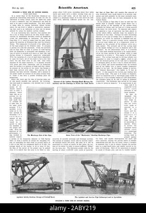 BY DAY ALLEN WILLEY. Interior of the Ladder Showing Shaft Driving the Agitator and the Bearings in Which the Shaft Rocks. Pipe. The Discharge End of the Pipe. Stern View of the 'Mackenzie' Showing Discharge BUILDING A TOWN SITE BY SUCTION DREDGE., scientific american, 1907-05-25 - Stock Photo