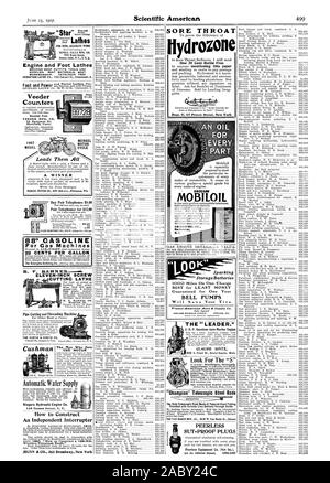 Rochester N.Y. SORE THROAT SENF.CA FALLS MFG. CO. Counters VEEDER MFG. CO. 18 Sa.rgeant St. Hartford Comm. SUT-PROOF PLUGS Peerless Equipment Co. (Not Inc.), scientific american, 1907-06-15 - Stock Photo