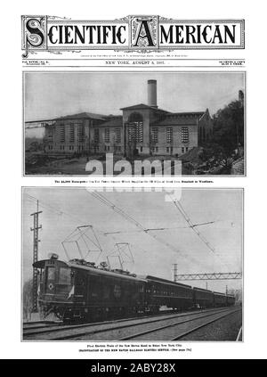The 25000 'Horse-power Cos Cob Power Station Which Supplies the 22 Miles of Road from Stamford to Woodlawn. First Electric Train a the New Haven Road to Enter New York City. 10 CENTS it COPY $3.00 A lEAR. Vol. XCVIINo. 5. CIENTIFIC MERICANt441 ' 4, scientific american, 1907-08-03 - Stock Photo