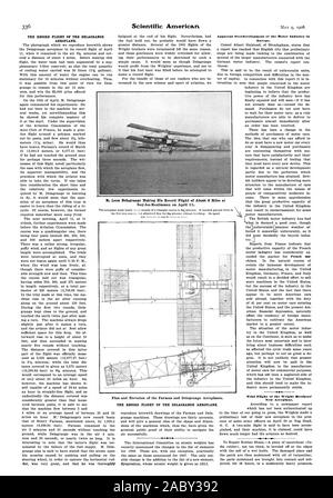 Apparent Overdevelopment of the Motor Industry in Europe. Trial Flight of the Wright Brothers' New Aeroplane. M. Leon Delagrange Making His Record Flight of About 4 Miles at Issy-les-Moulineaux on April . Plan and Elevation of the Farman and Delagrange Aeroplanes. THE RECORD FLIGHT OF THE DELAGRANGE AEROPLANE., scientific american, 1908-05-11 - Stock Photo