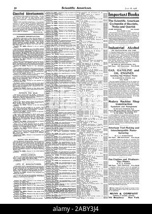 Classified Advertisements necessary to give the number of the inquiry. MUNN idz CO. BUSINESS OPPORTUNITIES. PATENTS FOR SALE. BOOKS AND MAGAZINES. MISCELLANEOUS. LISTS OF MANUFACTURERS. ing machines. Inquiry No. 8778-For manufacturers of reapers and mineral wool steam supplies. Iron and lead pine power transmission machinery and steam litters' tools. Inquiry No. 8780.-For parties who make gasoline Inquiry No. 8782.-For manufacturers of Chinese wood drums tom toms and cymbals. Important Books The Scientific American Cyclopedia of Receipts Notes and Queries 15000 RECEIPTS 734 PAGES Industrial - Stock Photo