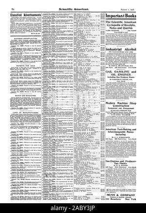 Classified Advertisements necessary to give the number of the inquiry. MUNN & CO. BUSINESS OPPORTUNITIES. PATENTS FOR SALE. BOOKS AND MAGAZINES. LISTS OF MANUFACTURERS. Inquiry No. 8728.-Wanted the address of The Inquiry No. 8729.-Wanted a machine for manu Important Books The Scientific American Cyclopedia of Receipts Notes and Queries 15000 RECEIPTS 734 PAGES Price 95.00 in cloth Industrial Alcohol ITS MANUFACTURE AND USES By JOHN K. BkACHVOGEL M.E. GAS GASOLINE and OIL ENGINES Including Gas Producer Plants By GARDNER D. HISCOX M.E. Price 82.50 Modern Machine Shop Construction Equipment and - Stock Photo