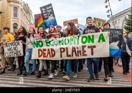 Cork, Ireland. 29th Nov, 2019. Cork was brought to a standstill today due to a climate march and rally. Approximately 200-300 students gathered from around the city and county to spread their message about the alleged climate change. Credit: Andy Gibson/Alamy Live News - Stock Photo