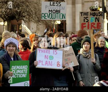 Glasgow, Scotland, UK. 29th Nov, 2019. Black Friday saw a climate protest in George Square the home the council city chambers as the youngest smp in Scotland and famous ginger Ross Greer addressed the young crowd. Credit: gerard ferry/Alamy Live News - Stock Photo