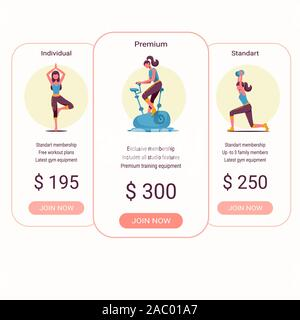 Price list, hosting plans and web boxes banners design. three tariffs. interface for the site. ui ux vector banner for web app. - Stock Photo
