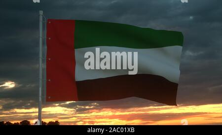 United Arab Emirates 3d flag floating in the wind. 3d illustration. - Stock Photo