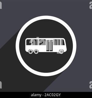 Bus icon. Flat design grey square vector button. - Stock Photo