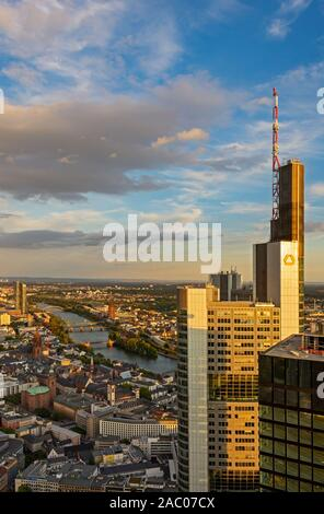 FRANKFURT, GERMANY - SEPTEMBER 17: Aerial view over the city and the Commerzbank Tower in Frankfurt, Germany on September 17, 2019.  Foto taken from M - Stock Photo