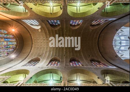 Art deco interior design with stained glass of the Catholic Basilica of the Sacred Heart- view from the floor to the ceiling