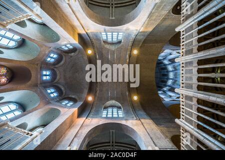 Art deco interior design with stained glass of the Catholic Basilica of the Sacred Heart- View from the floor to the ceiling - Stock Photo