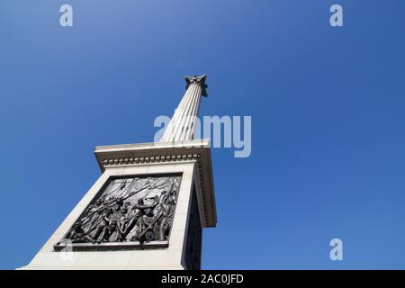 27 February 2019: London, England - view of Nelson's column at an angle - Stock Photo